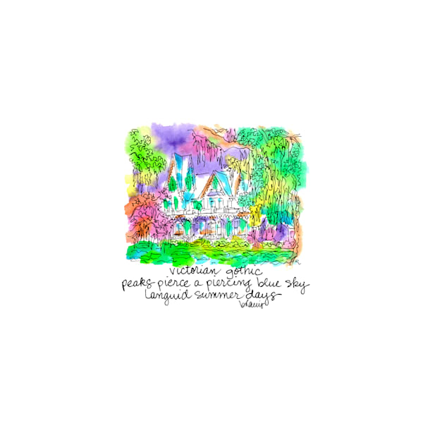 ardoyne plantation, schriever, louisiana:  tiny haiku art prints in cheerful watercolor available for purchase online