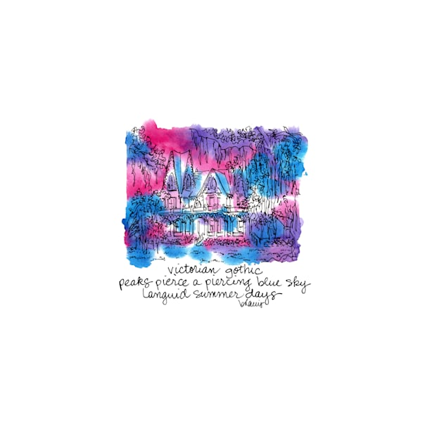 """ardoyne plantation, schriever, louisiana (""""after dark"""" collection):  tiny haiku art prints in atmospheric watercolor for sale online"""