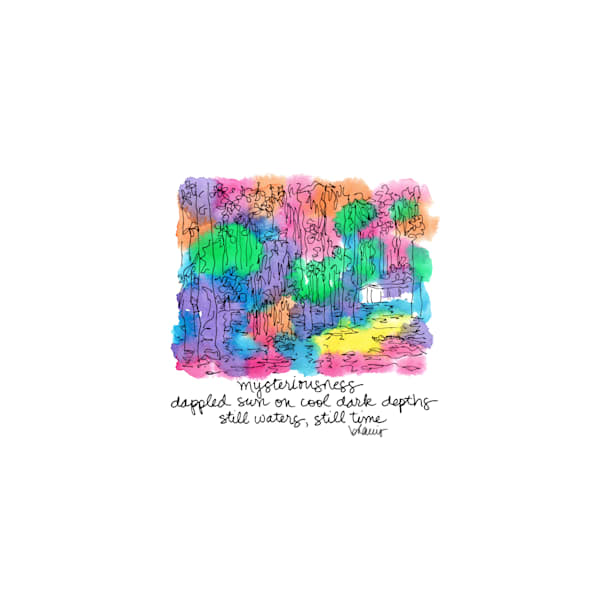 honey island swamp (camp with gator), south louisiana:  tiny haiku art prints in cheerful watercolor for sale online