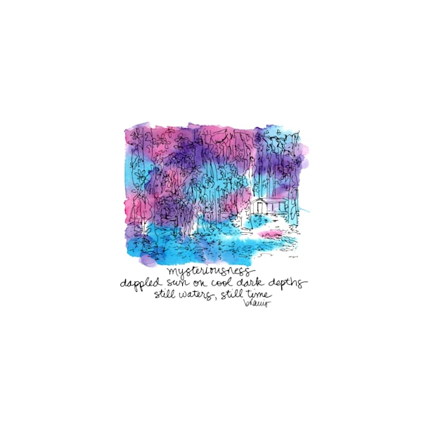 """honey island swamp (camp with gator), south louisiana (""""after dark"""" collection):  tiny haiku art prints in atmospheric watercolor for sale online"""