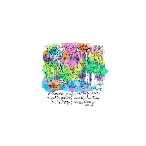 honey island swamp (critters), south louisiana:  tiny haiku art prints in cheerful watercolor available for purchase online