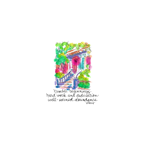 kehoe house, savannah, georgia:  tiny haiku art prints in cheerful watercolor available for purchase online