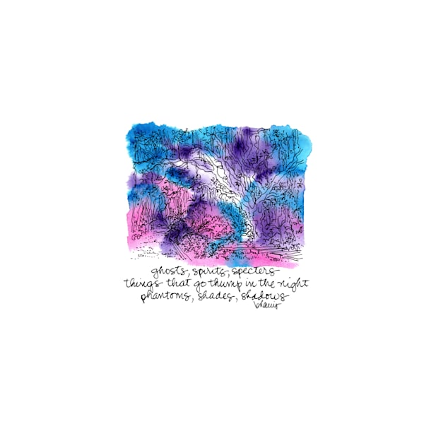"""bonaventure cemetery (shadowy path), savannah, georgia (""""after dark"""" collection):  tiny haiku art prints in atmospheric watercolor available for purchase online"""