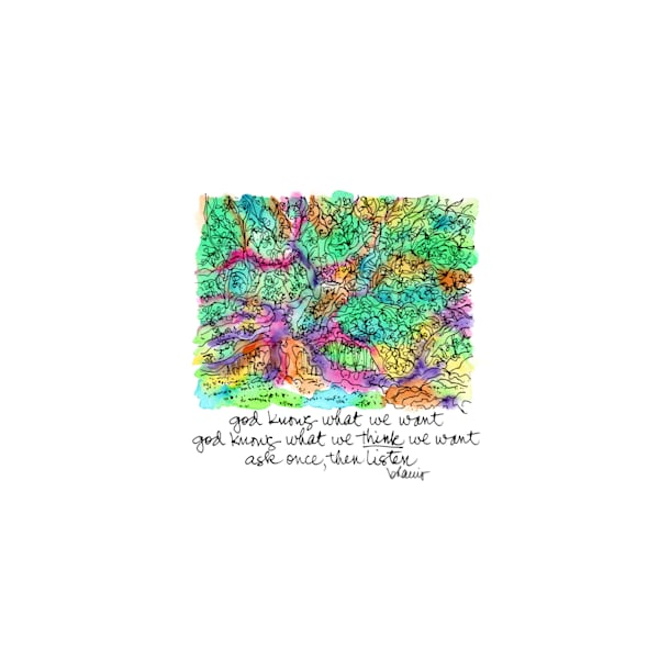 angel oak, johns island, south carolina (left perspective):  tiny haiku art prints in cheerful watercolor for sale online