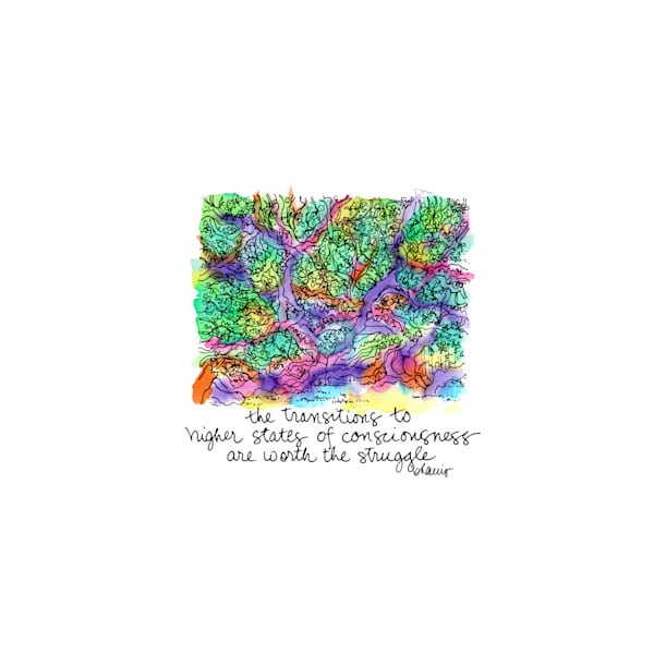 angel oak, johns island, south carolina (right perspective):  tiny haiku art prints in cheerful watercolor for sale online