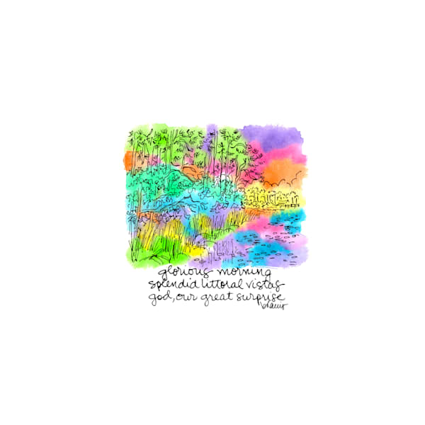 gulf coast pines, watercolor (30a), florida:  tiny haiku art prints in elegant pen available for purchase online
