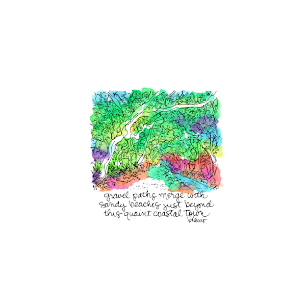 cerulean park, watercolor (30a), florida:  tiny haiku art prints in cheerful watercolor available for purchase online