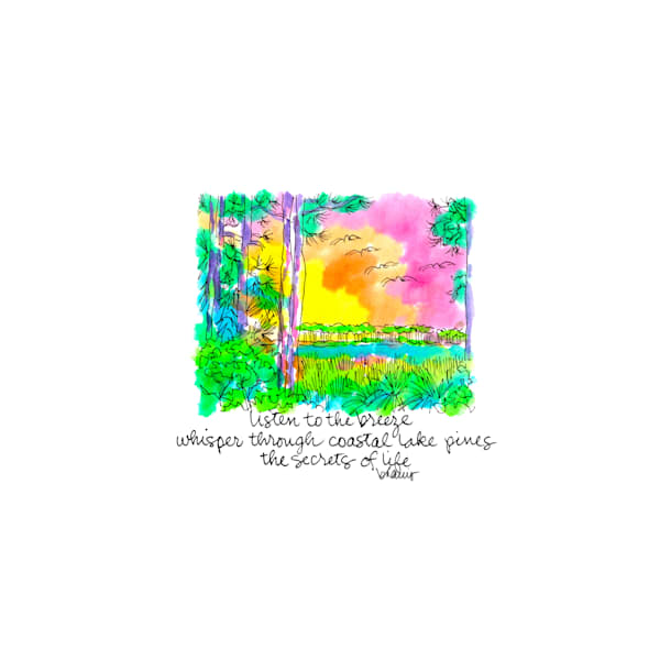 western lake pines, grayton beach (30a), florida:  tiny haiku art prints in cheerful watercolor available for purchase online