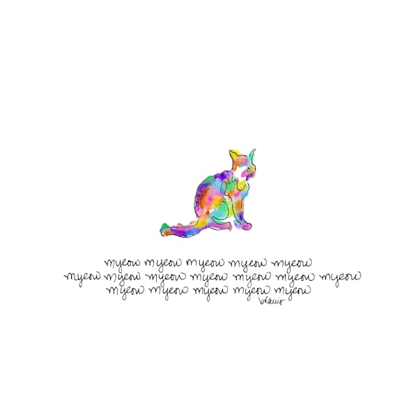 haiku kitty:  tiny haiku art prints in cheerful watercolor available for purchase online