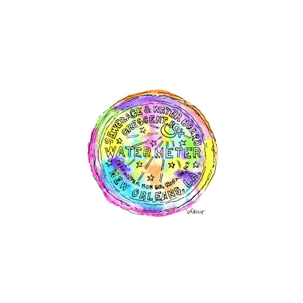 watermeter cover, new orleans:  tiny haiku art prints in cheerful watercolor available for purchase online