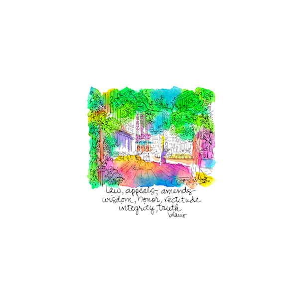 federal courthouse, new york city:  tiny haiku art prints in cheerful watercolor for sale online