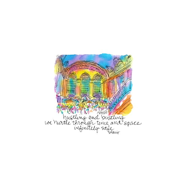 grand central station, new york city:  tiny haiku art prints in cheerful watercolor available for purchase online