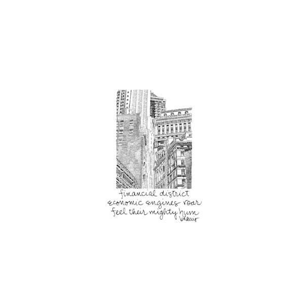 financial district (portico), new york city:  tiny haiku art prints in elegant pen available for purchase online