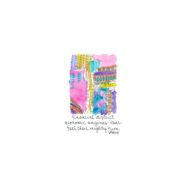 financial district (portico), new york city:  tiny haiku art prints in cheerful watercolor available for purchase online