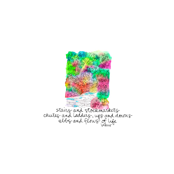 central park (stairs amid greenery), new york city:  tiny haiku art prints in cheerful watercolor for sale online