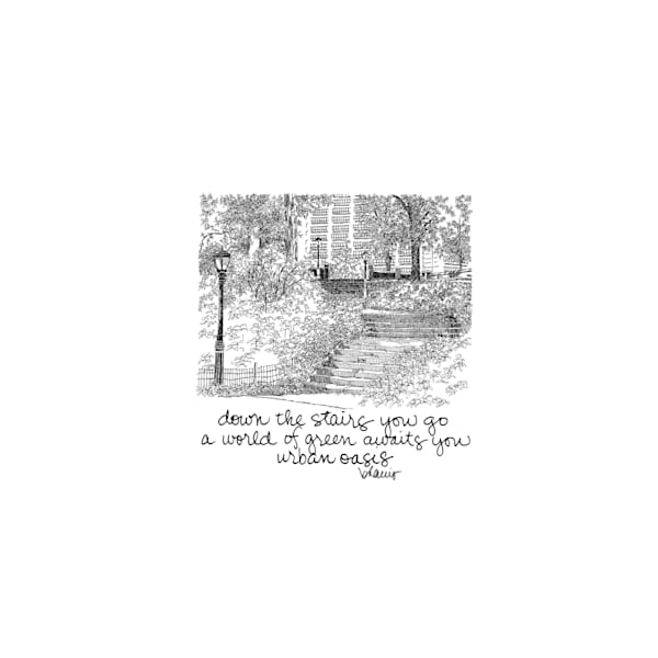central park (stairs with streetlamp), new york city:  tiny haiku art prints in elegant pen available for purchase online