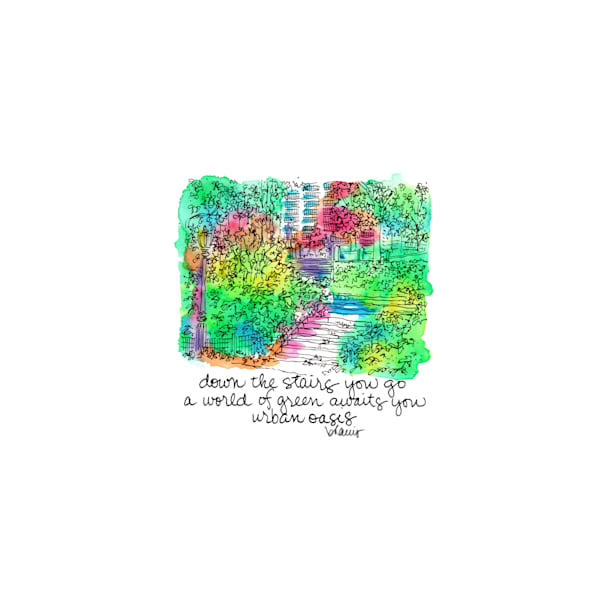 central park (stairs with lamp), new york city:  tiny haiku art prints in cheerful watercolor available for purchase online