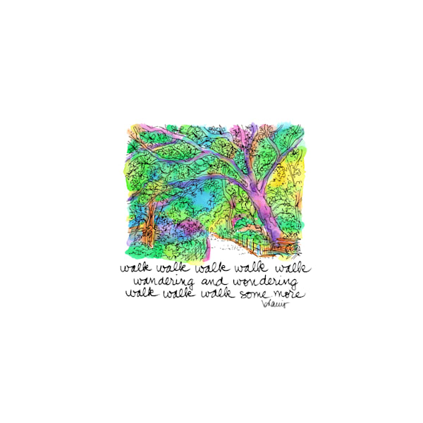 central park (shaded path), new york city:  purchase online tiny haiku art prints in cheerful watercolor