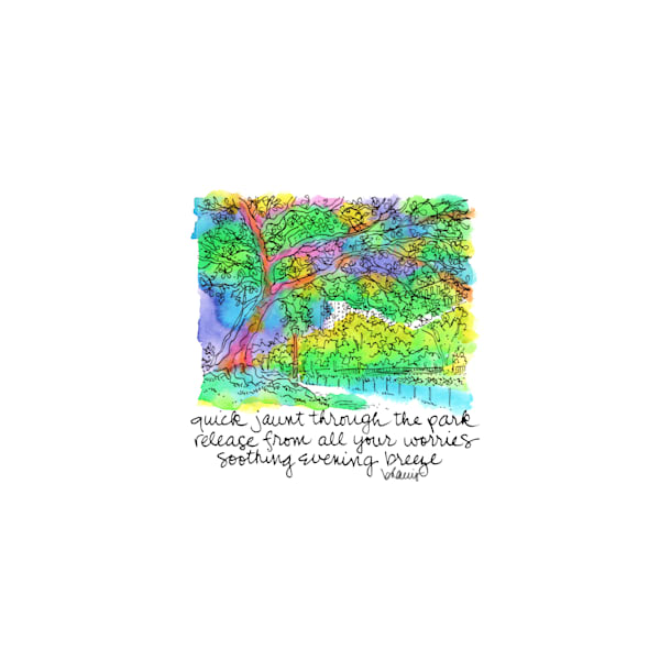 central park (tree by lake), new york city:  tiny haiku art prints in cheerful watercolor available for purchase online