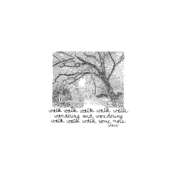 central park (shaded pathway with bench), new york city:  purchase online tiny haiku art prints in elegant pen
