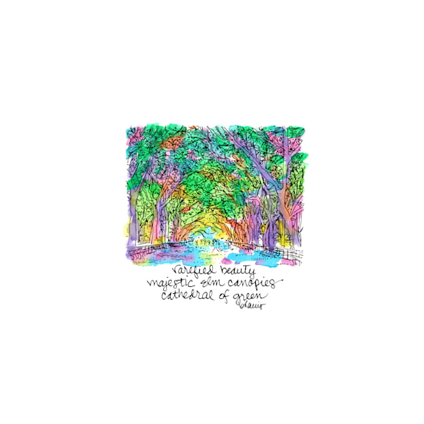 central park (the mall), new york city:  tiny haiku art prints in cheerful watercolor available for purchase online