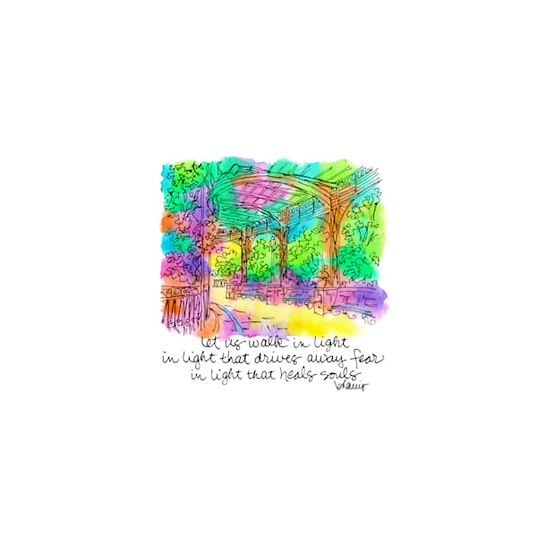 conservatory garden, new york city:  tiny haiku art prints in cheerful watercolor available for purchase online
