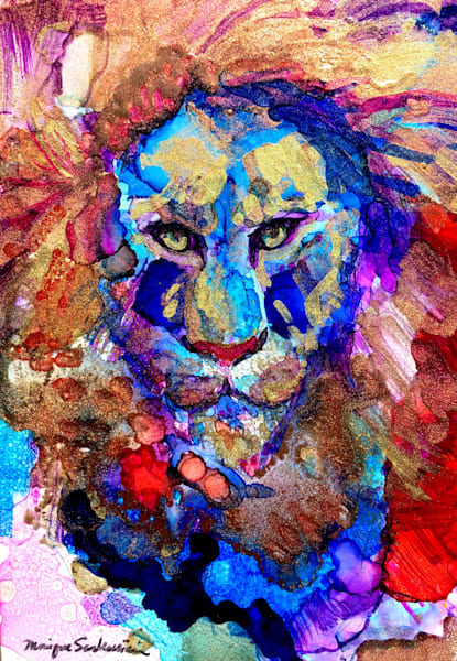 """""""Ready to Roar 18"""" prophetic art  by Monique Sarkessian alcohol ink painting of the Lion of the tribe of Judah."""