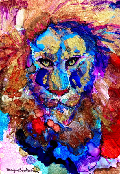 """""""Ready to Roar 18"""",  lion painting by Monique Sarkessian alcohol ink on panel, 7x5""""."""