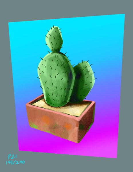 Simple Flat Cactus Ultra Chroma Art   Matt Pierson Artworks