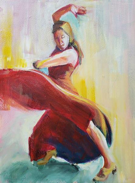 Flamenco Dancer In Red Art | Limor Dekel Fine Art