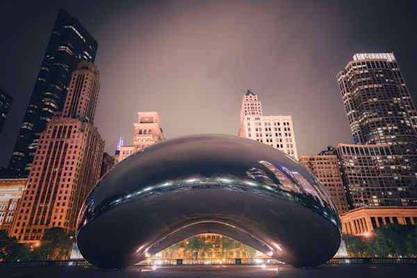 Chicago Cloud Gate At Night Photography Art   William Drew Photography