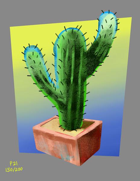 Blue Green Cactus Art   Matt Pierson Artworks