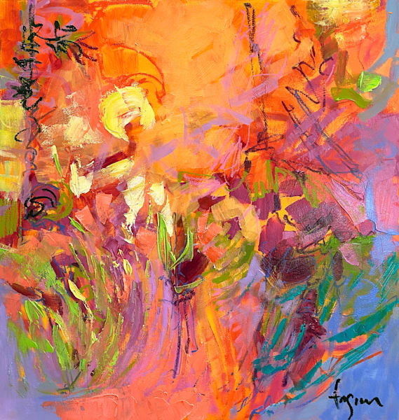 Bright Orange expressive abstract oil painting