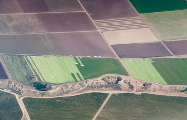 Abstract aerial of harvest landscape, California
