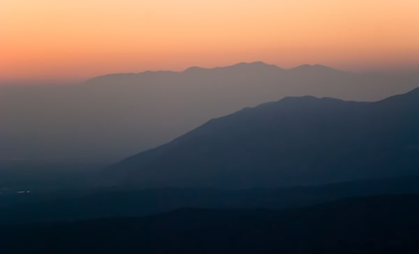 Hazy Southern California sunset and mountain landscape