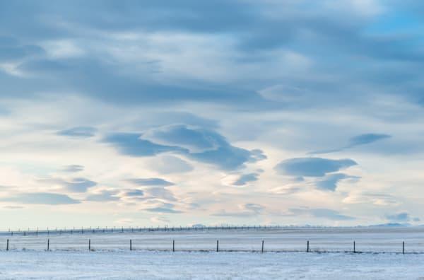 Winter landscape and clouds, Alberta, Canada