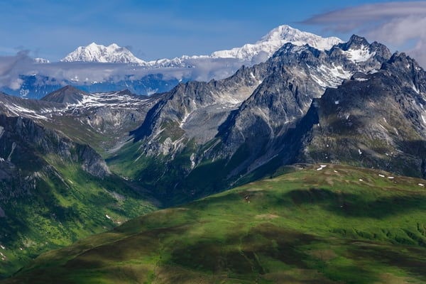Summer landscape aerial photo of green Takosha Mountains with Denali and Alaska range in the background in Denali National Park, Alaska  Photo by Jeff Schultz/  (C) 2021  ALL RIGHTS RESERVED