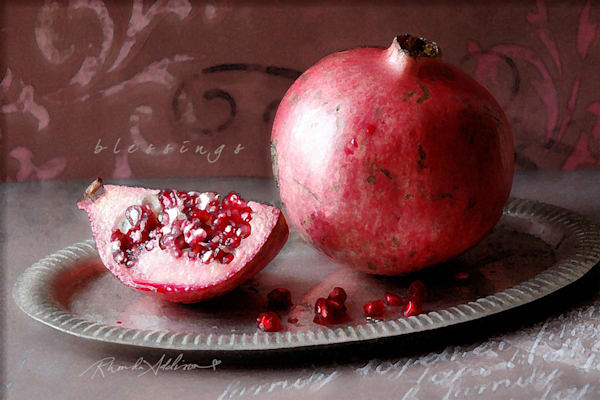 Sparkly Pomegranate on Silver Tray Art