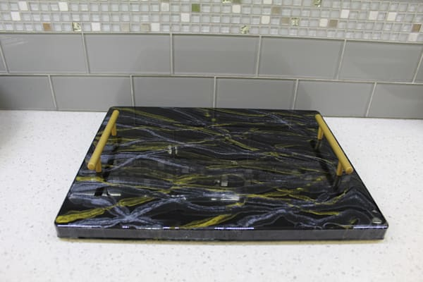 Gold Handle With Black, Gold And Silver Serving Tray | Kimberlykort
