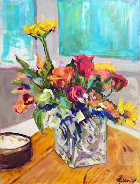 Paintings of Colorful Flowers in Oil and Acrylic