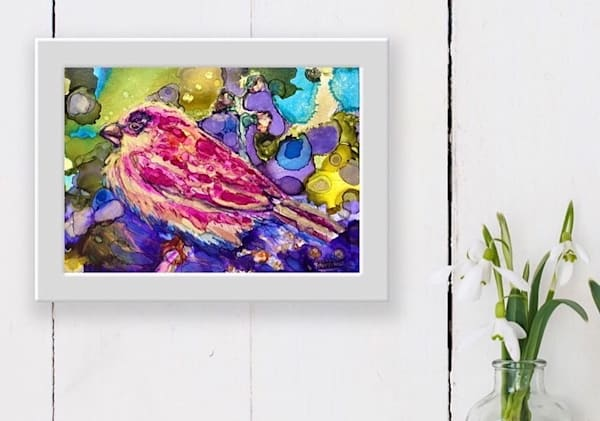 "Prophetic art ""Magenta Sparrow's Provision"" painting by Monique Sarkessian."