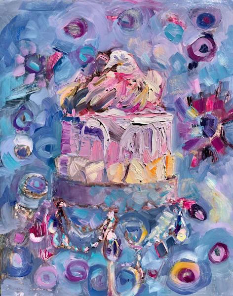 """Still Life with Pink Velvet Glory Cake 2"". Original fine art paintings by Monique Sarkessian."