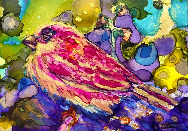 "Print of prophetic art ""Magenta Sparrow's Provision"" by Monique Sarkessian."