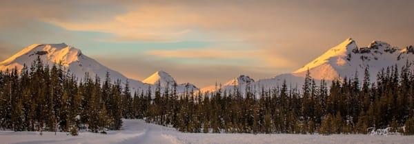 Snowcascadepanosunset Photography Art | Barb Gonzalez Photography