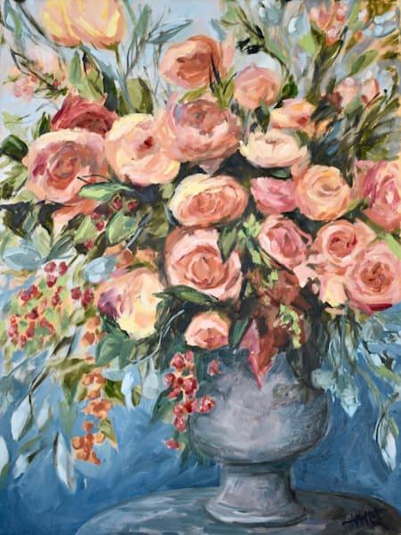 "Original Oil Painting- Abundance Blue- 18"" x 24"" - Painted by Contemporary Impressionist April Moffatt"