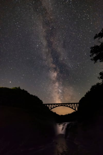 Milky Way Above Upper Falls In Letchworth State Park, Ny Photography Art | RAndrews Photos