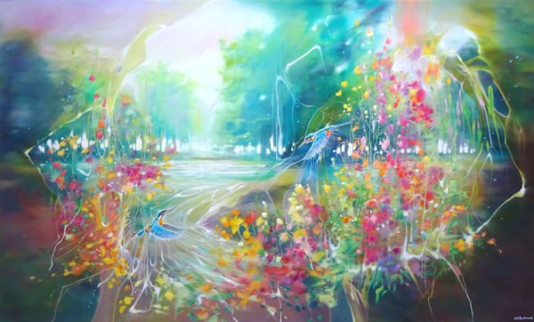 very large oil painting of a river bank with wildflowers and kingfishers on an English summer day in the countryside
