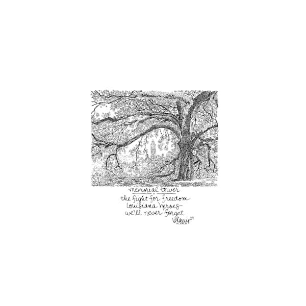 memorial tower, louisiana state university:  tiny haiku art prints in elegant pen available for purchase online