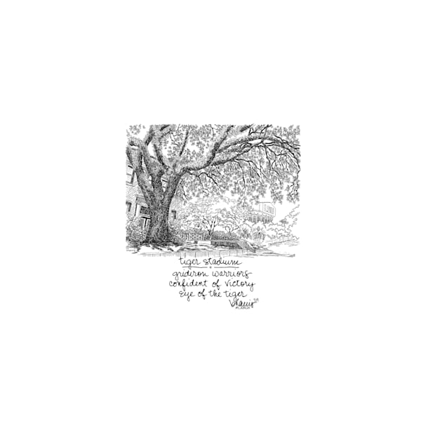 tiger stadium, louisiana state university:  tiny haiku art prints in elegant pen available for purchase online