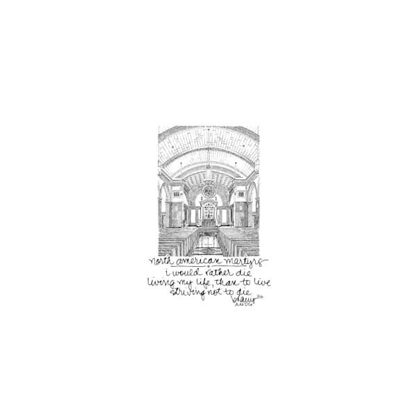 chapel of the north american martyrs, jesuit high school, new orleans:  tiny haiku art prints in elegant pen available for purchase online